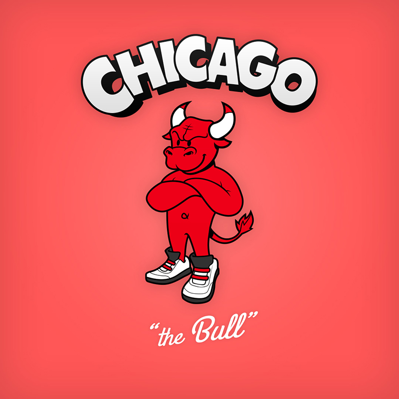 "Chicago ""the Bull"" logo design as cartoon character"