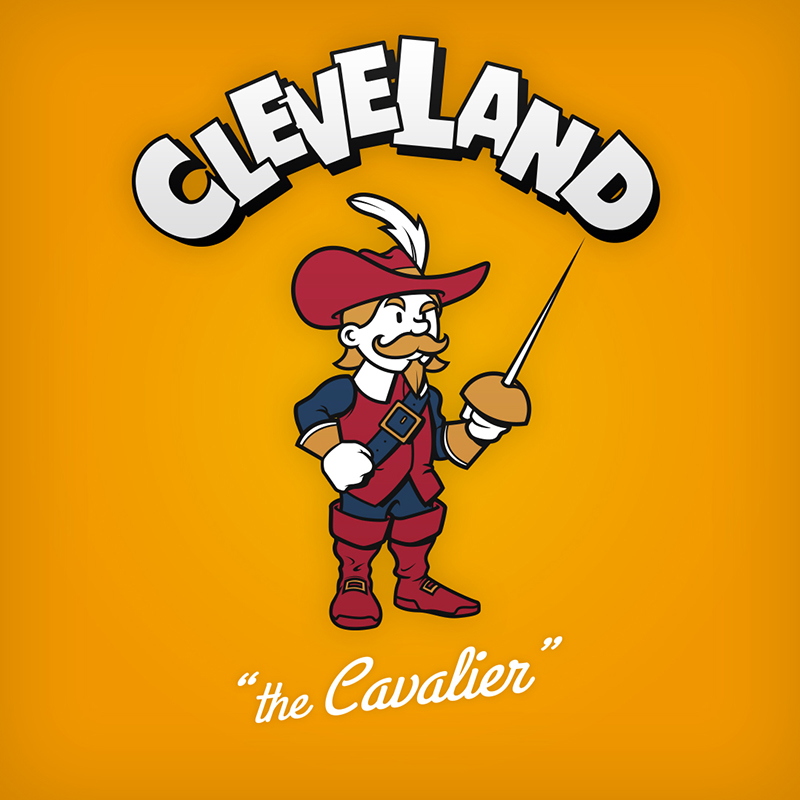 "Cleveland ""the Cavalier"" logo design as cartoon character"