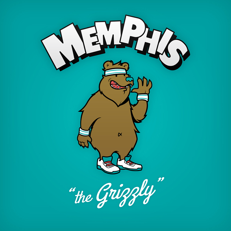 "Memphis ""the Grizzly"" logo design as cartoon character"