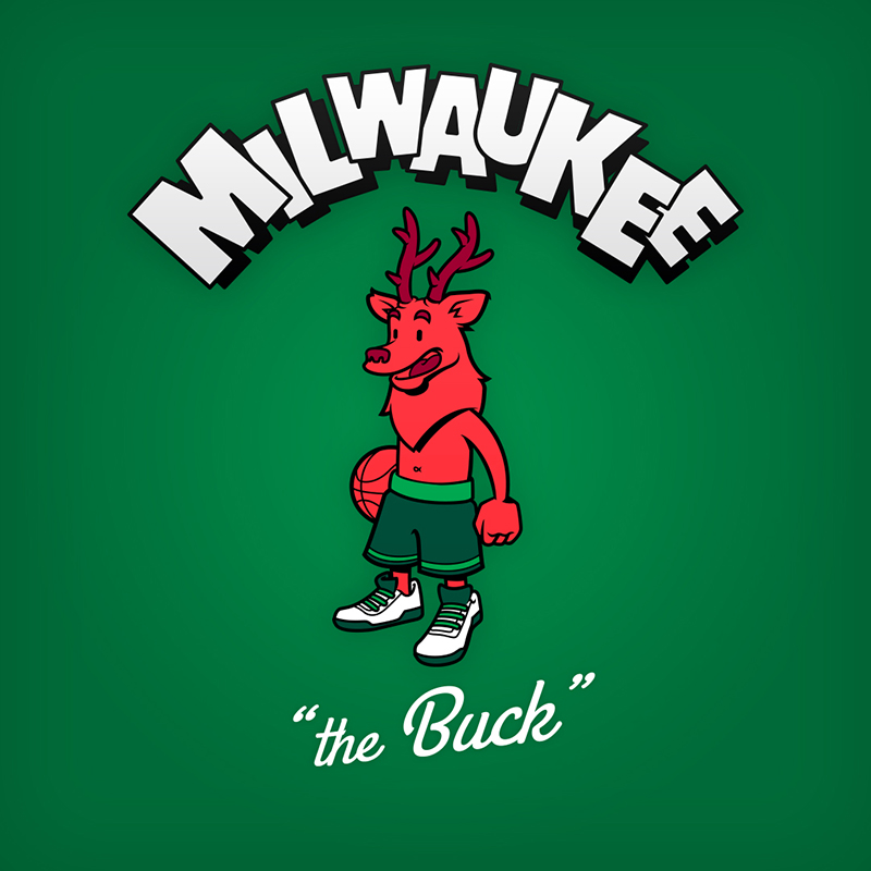 "Milwaukee ""the Buck"" logo design as cartoon character"