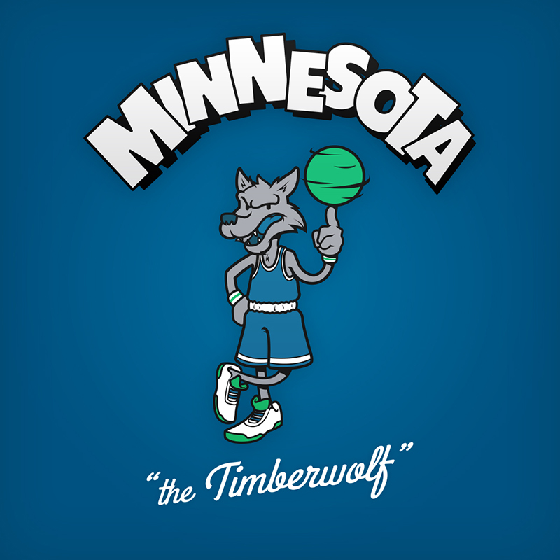 "Minnesota ""the Timberwolf"" design de logo NBA en personnages de dessin animés"