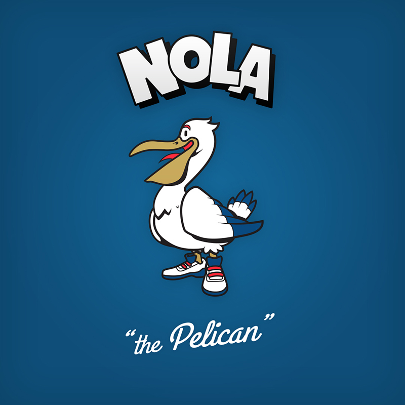 "Nola ""the pelican"" logo design as cartoon character"
