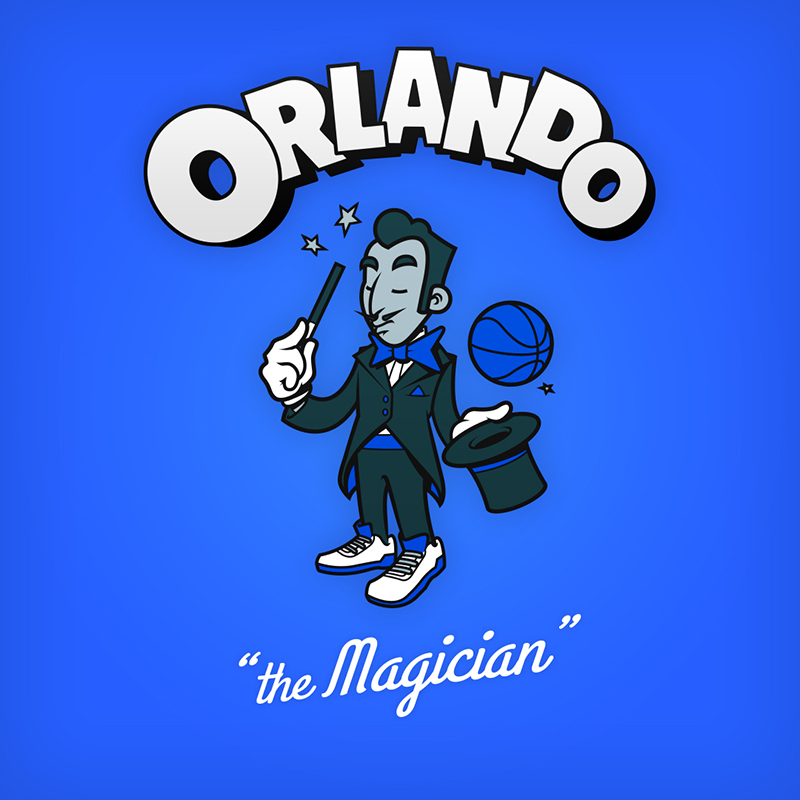 "Orlando ""the magician"" logo design as cartoon character"
