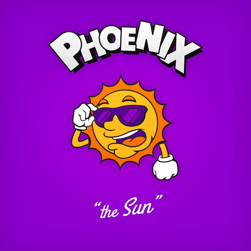 "Phoenix ""the Sun"" logo design as cartoon character"
