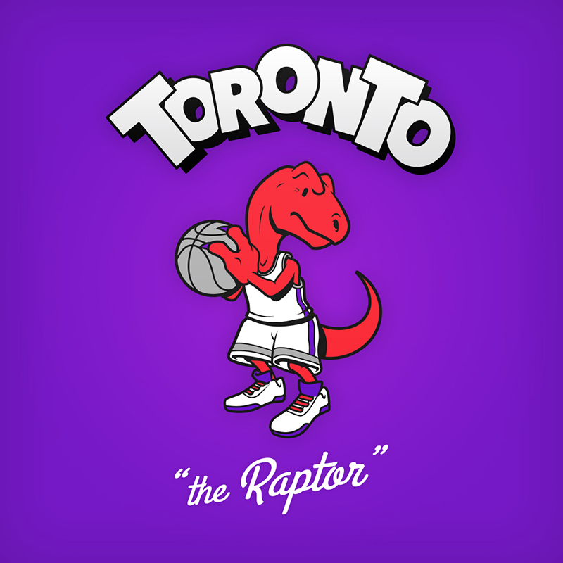 "Toronto ""the Raptor"" logo design as cartoon character"