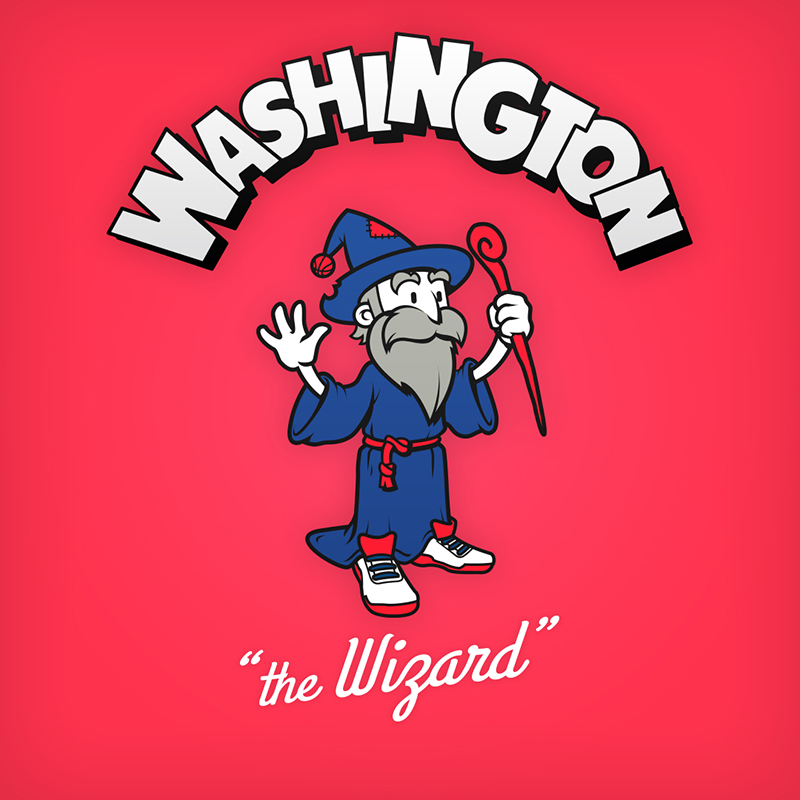 "Washington ""the Wizard"" logo design as cartoon character"