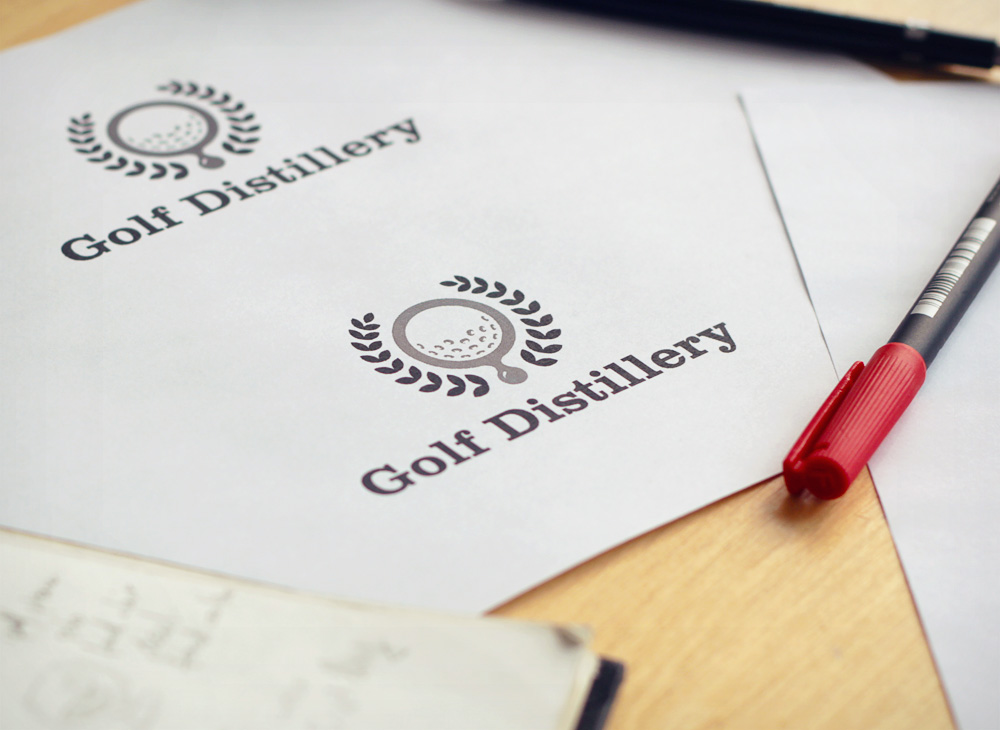 Golf Distillery grayscale print