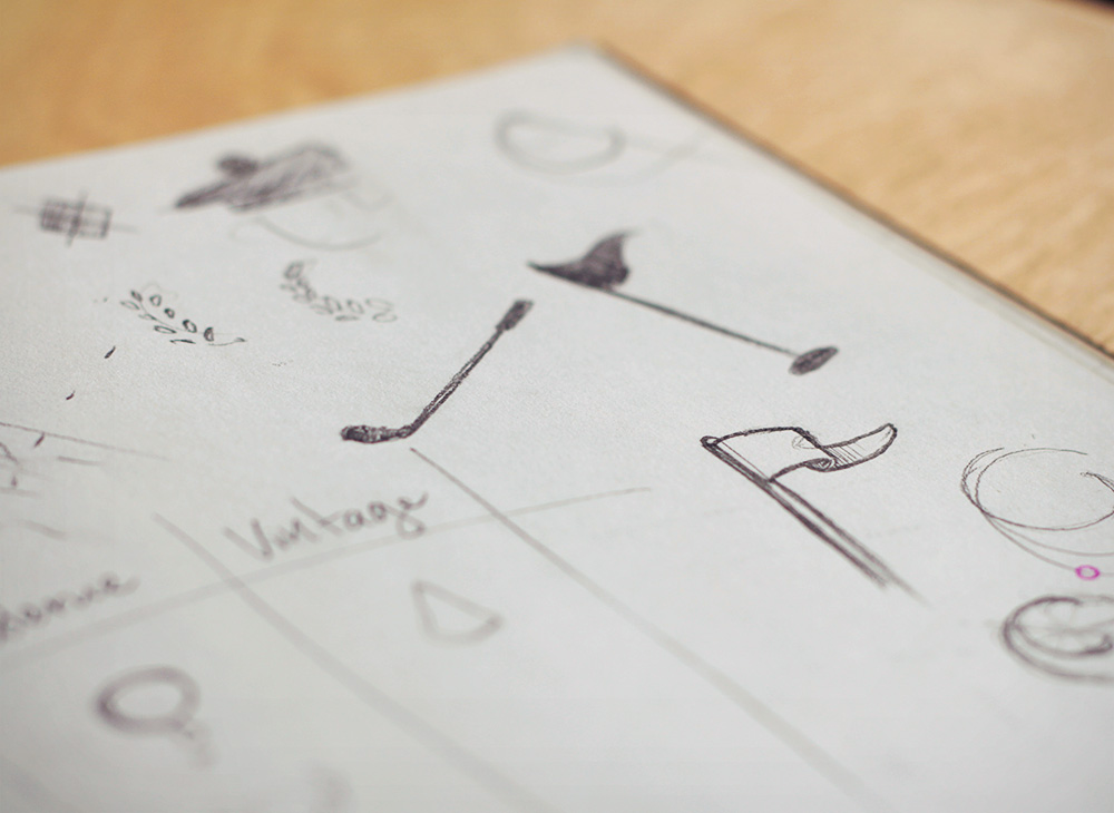 First sketches for the Golf Distillery logo design