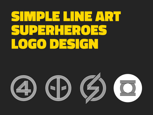 Simple Line Art used in Superheroes Logo Design
