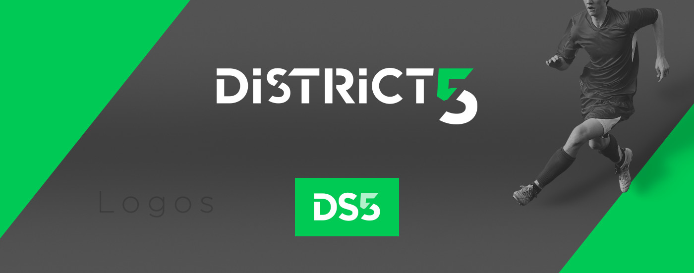 Logo, Business cards and flyer graphic design for District Soccer 5 ...