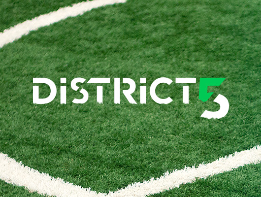 Logo, Business cards and flyer graphic design for District Soccer 5